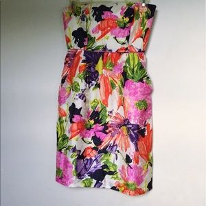 J. Crew floral strapless dress